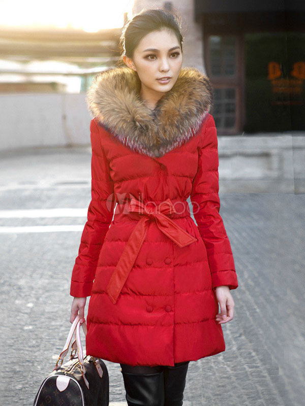 Red Winter Coat Faux Fur Hooded Women's Double Breasted Puffer ...