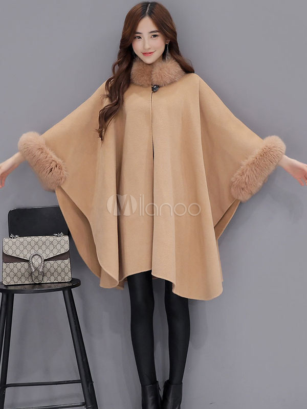 aac3aa9a7a3 ... Plus Size Poncho Coat Women s Faux Fur Collar Wool Blend Winter Coat In  Light Tan- ...