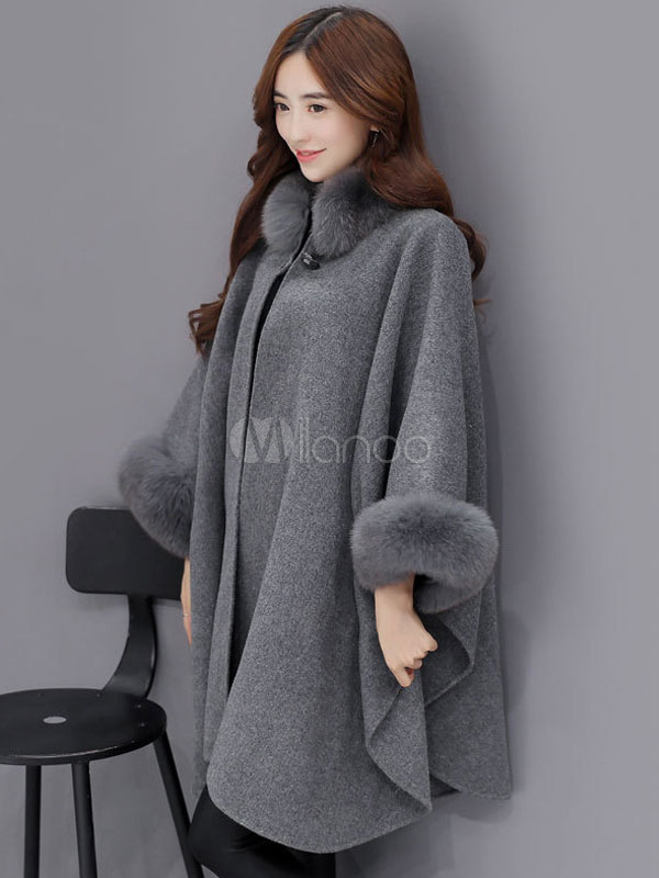 20c59192a4a ... Plus Size Poncho Coat Women s Faux Fur Collar Wool Blend Winter Coat In  Light Tan-