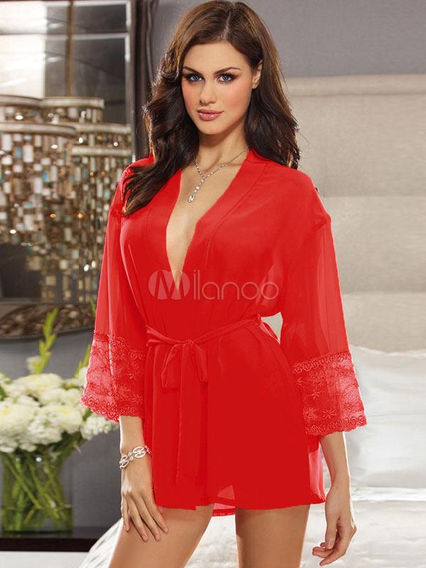 Red Sexy Robe Chiffon Plunging Lingerie Women's Lace Cuff Sheer Night Gown