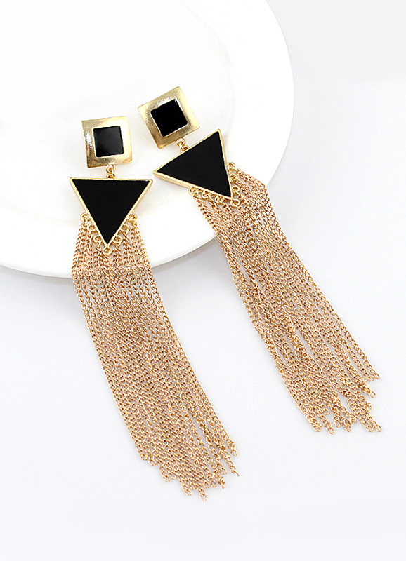 Women Duster Earring Chain Fringe Geometric Gold Dangle Earring