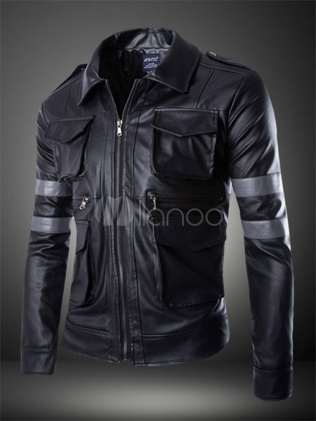 Pockets PU Leather Jacket for Man