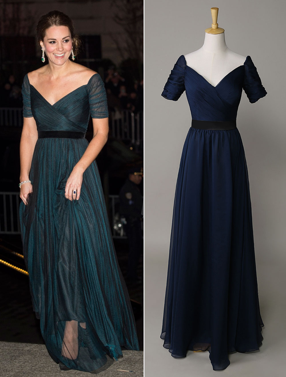 Kate Middleton Dark Navy Off the Shouler Dress
