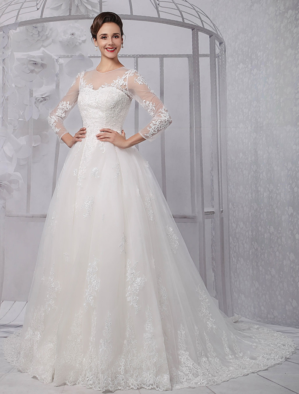 Long sleeves illusion neck line lace bridal wedding gown for Long veil wedding dresses