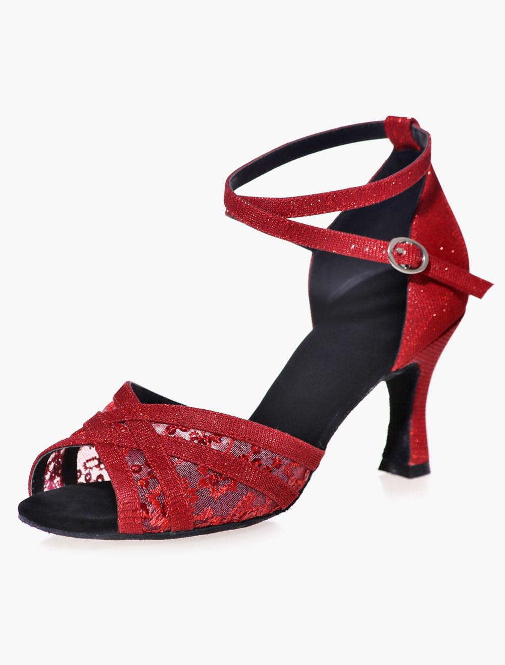Open Toe Black Mesh Glitter Ballroom Shoes