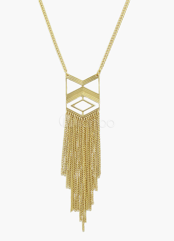 Fashion Metallic Fringe Pendant Necklace