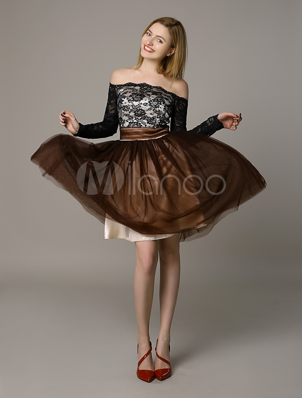 70946a57a41e Off the Shoulder Lace Tulle Open Back Bow Decpr Cocktail Dress ...