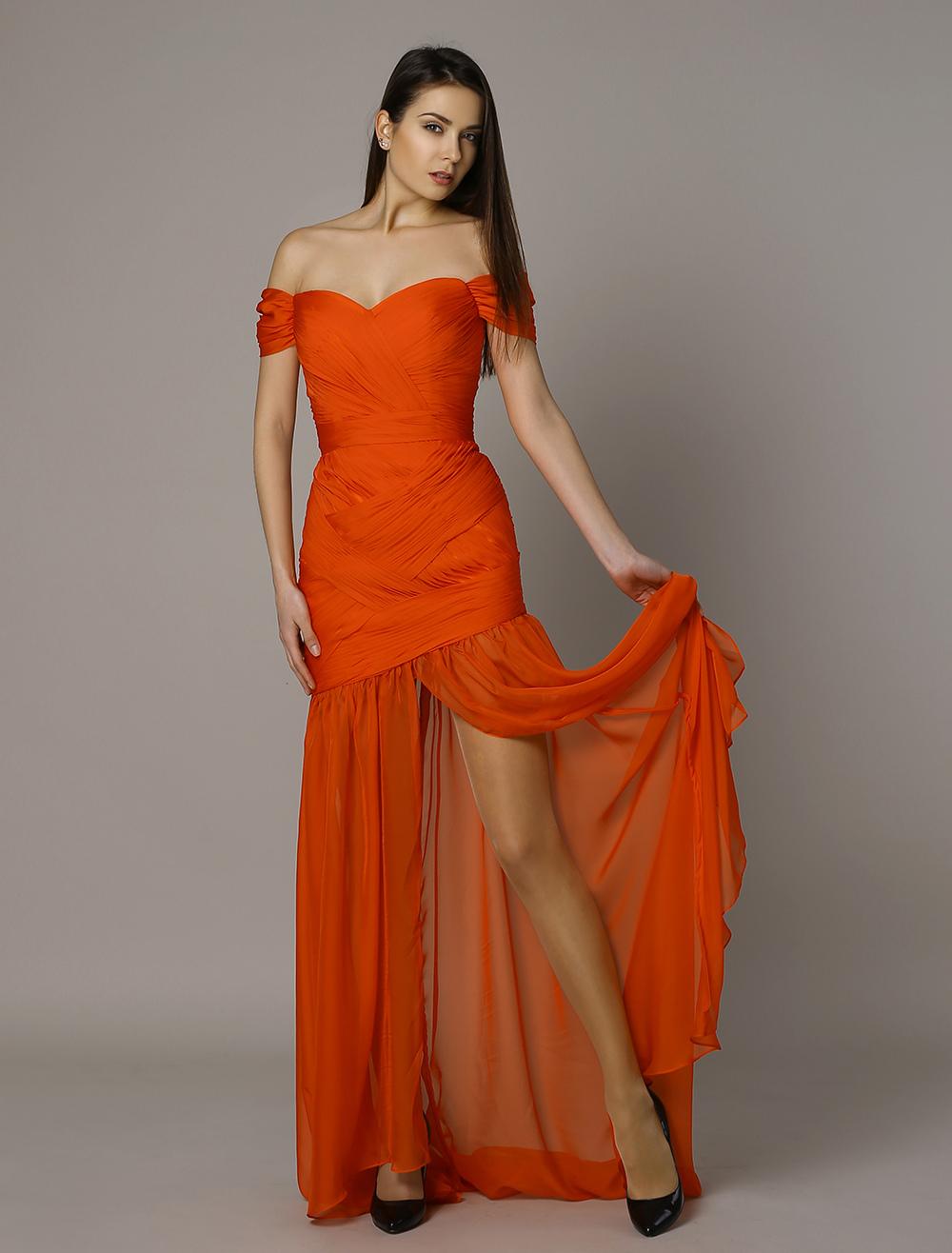 Alex Jones Bafta Red Off The Shoulder Ruched Split Chiffon Mermaid Dress - Milanoocom-1542
