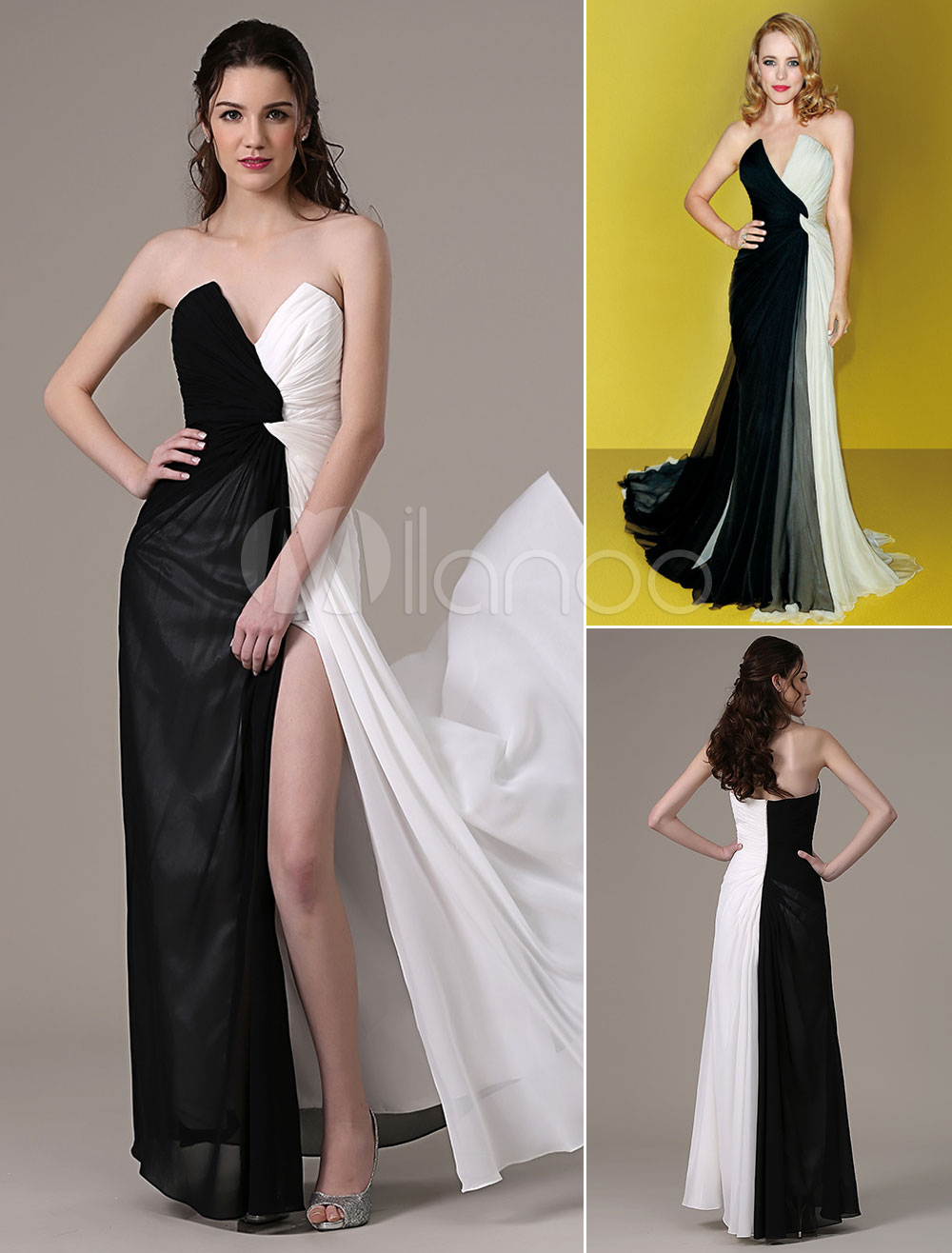 1e83b1f56421 Twisted Black and White V-Neck Strapless High Slit Chiffon Dress -  Milanoo.com