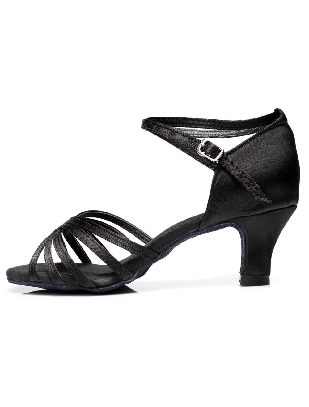 Zapatos baile latino Satin Criss Cross Zapatos de salón para mujeres 9d9sxT
