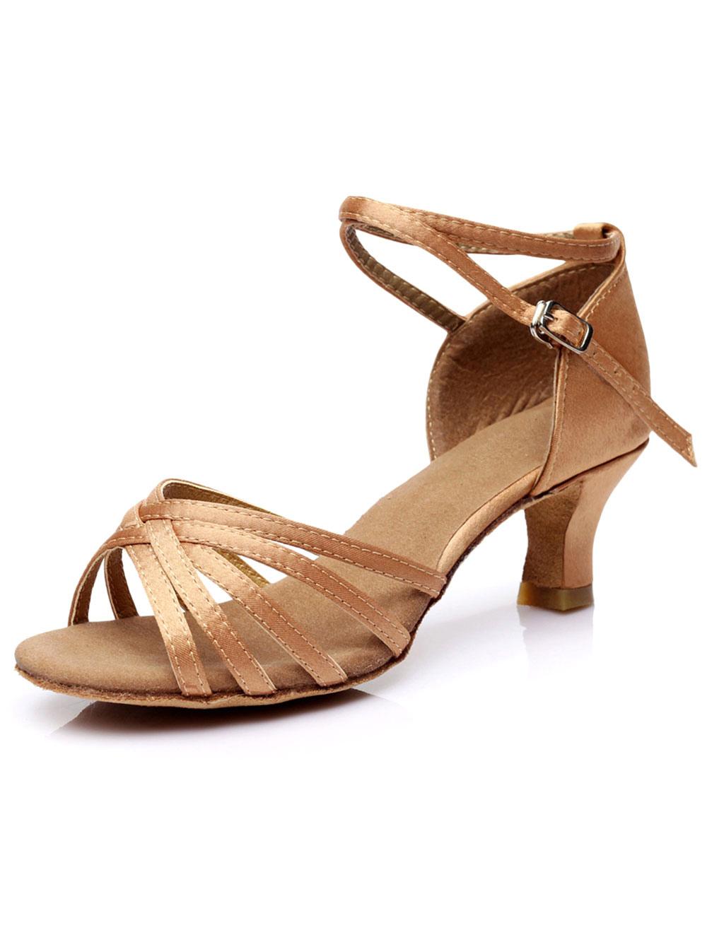 Zapatos baile latino Satin Criss Cross Zapatos de salón para mujeres fnkWGp