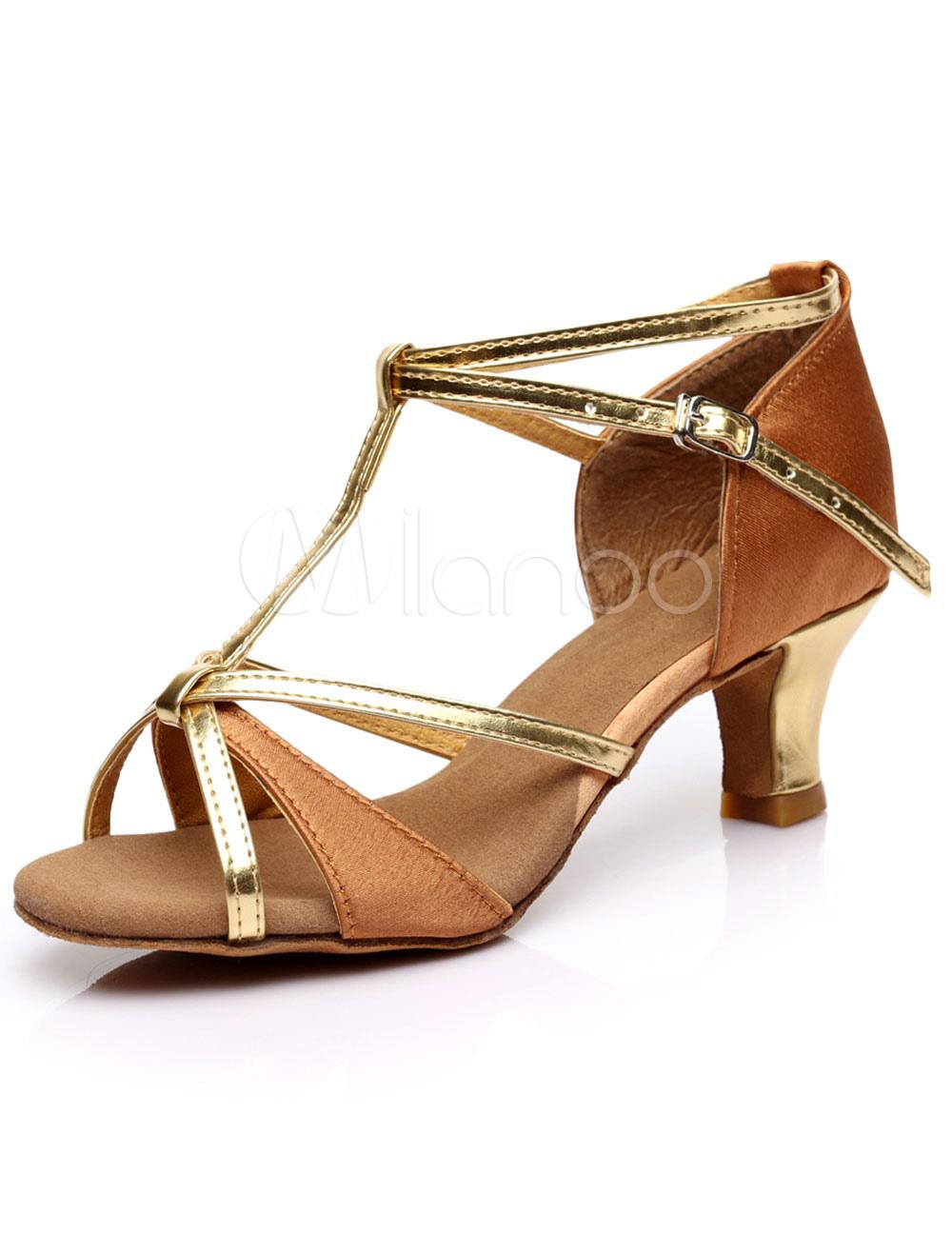 Oro Peep Toe lentejuelas tela zapatos de salón de baile para las mujeres fx2qJpRo