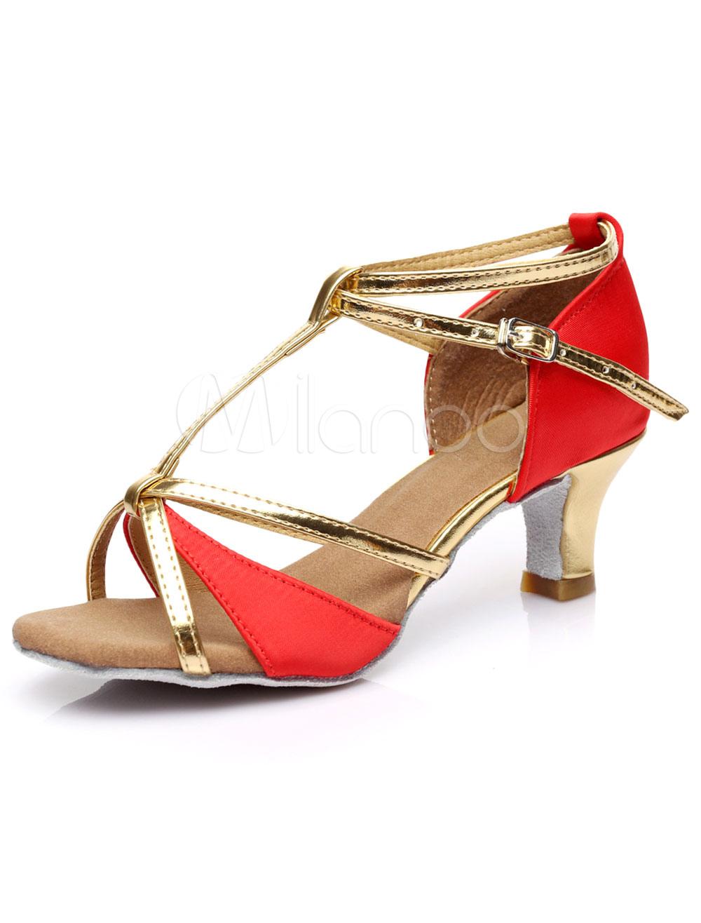 Oro Peep Toe lentejuelas tela zapatos de salón de baile para las mujeres qRkO7S