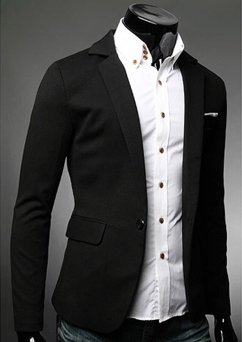 Buy Black Casual Blazer Notch Collar Single Button Black Men Suit Jacket 2018 Blazer For Men for $38.24 in Milanoo store