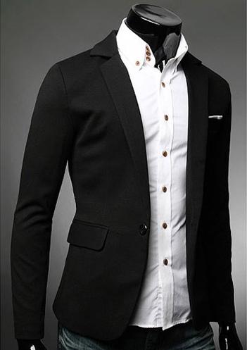 Buy Black Casual Blazer Notch Collar Single Button Black Men Suit Jacket 2018 Blazer For Men for $45.89 in Milanoo store