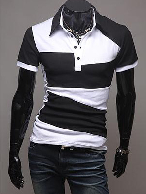 Men T Shirt Cotton Two Tone Short Sleeve Polo Shirt