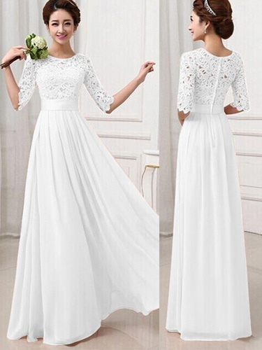 Lace and Chiffon Maxi Dress Women's Long Sleeve High Waist Party Dress