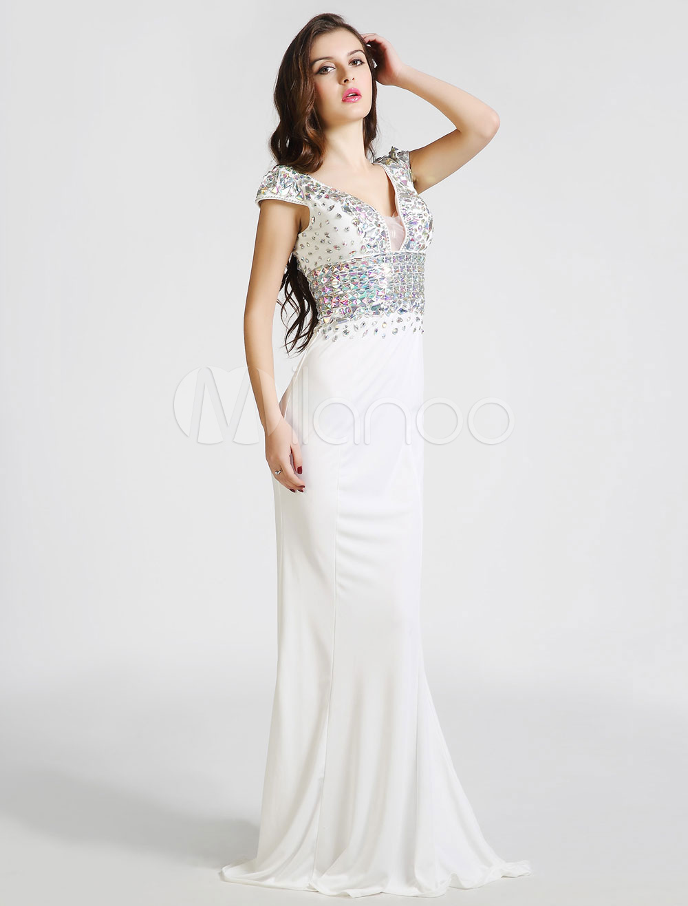 Rhinestone Beaded Deep V-Neck Cap Sleeves Mermaid Evening Gown ...