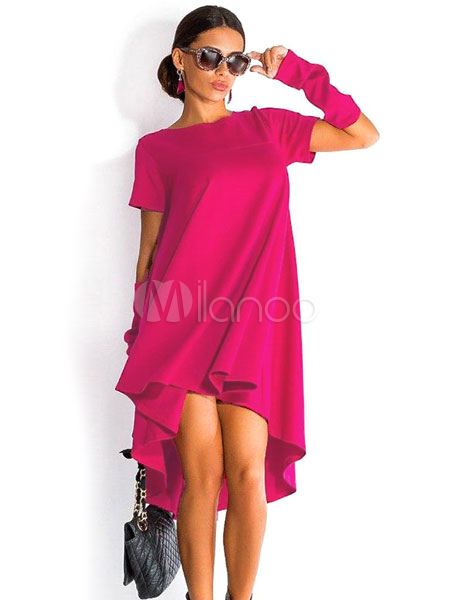 Buy Red Hi-Lo Polyester Shift Dress For Women for $15.99 in Milanoo store