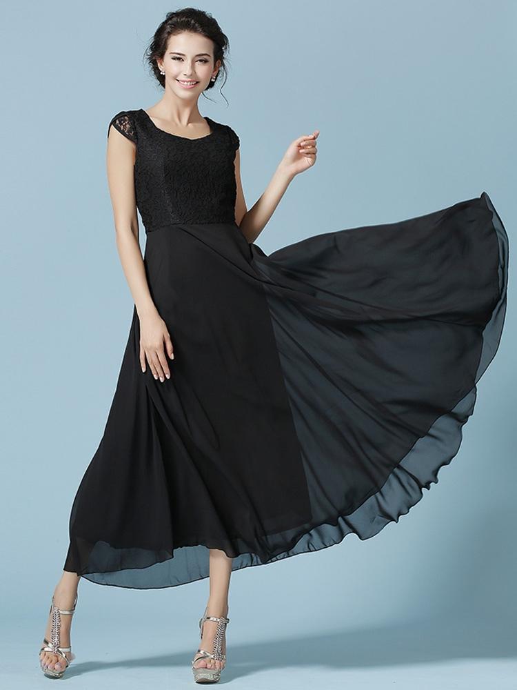 robe longue chiffon dentelle pliss col carr. Black Bedroom Furniture Sets. Home Design Ideas