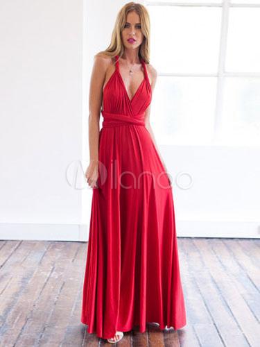 Dos Bretelles Coton Décolleté Robe En Longue Rouge Creusé À k8OPn0ZNwX