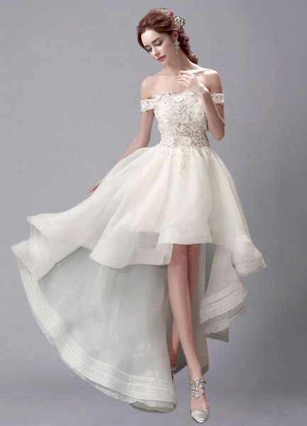 Ivory Wedding Dress High-Low Off-the-Shoulder Lace Wedding Gown ...