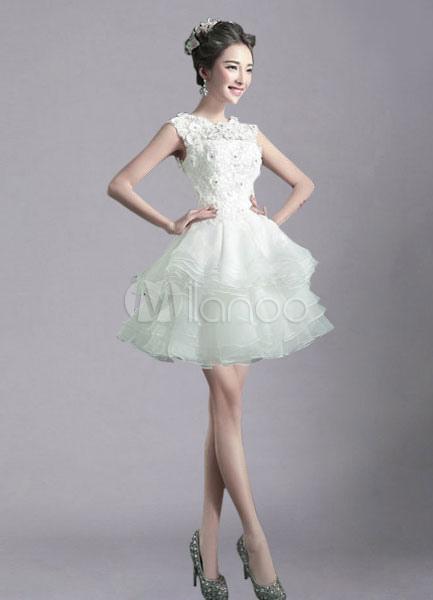 Ivory wedding dress illusion rhinestone tiered short for Ivory short wedding dress