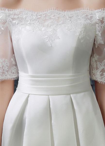 Ivory wedding dress knee length off the shoulder sash for Ivory knee length wedding dresses