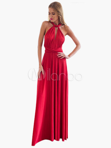 Maxi Dress 2018 Red Backless Multi-way Women's Long Prom Dress