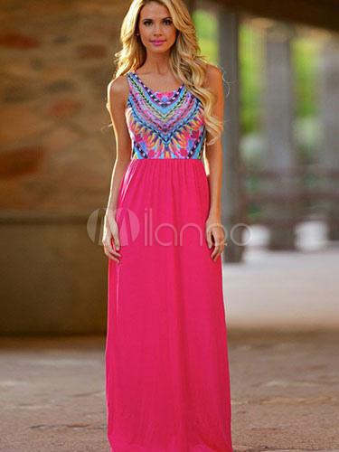 Boho Maxi Dress Sleeveless Chiffon Jacquard Summer Dress for Woman