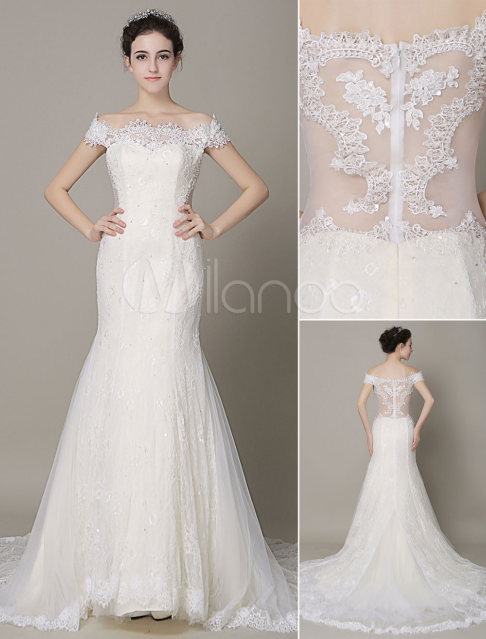 Ivory Wedding Dress Off-The-Shoulder Mermaid Lace Wedding Gown ...