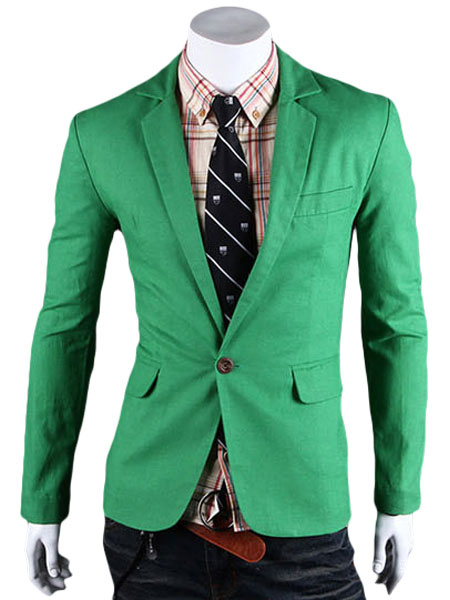 Buy Green Casual Blazer Notch Collar Spring Jacket One Button Blazer For Men for $23.99 in Milanoo store