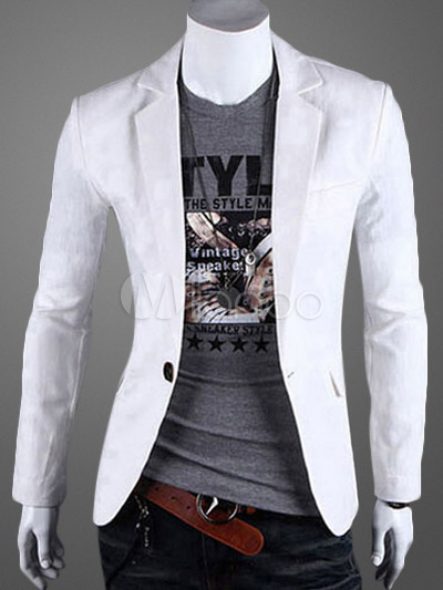 Buy Men Blazer Casual Front Button Notch Collar White Cotton Suit Jacket 2018 for $43.19 in Milanoo store