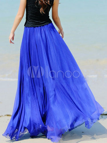 Blue Chiffon Maxi Skirt With Ruffles for Women Cheap clothes, free shipping worldwide