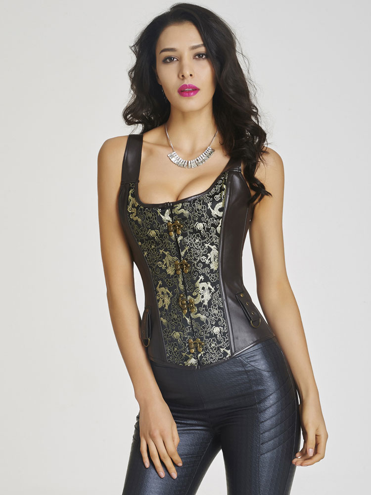 Punk Black Solid Color PU Leather Overbust Steampunk Corsets