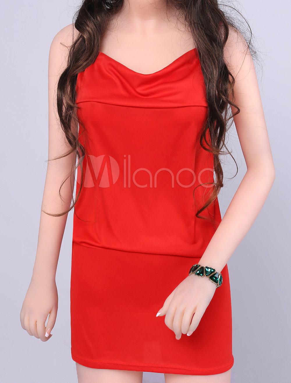1382390666 Sexy Square Neck Low Cut Backless Polyester Club Dress - Milanoo.com