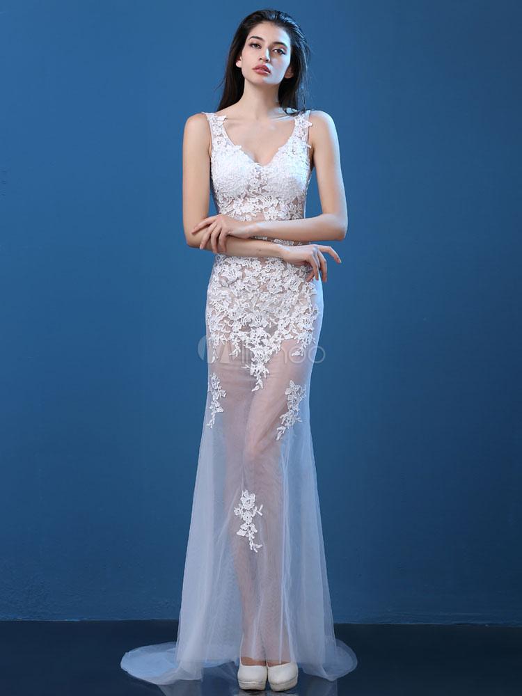 Vestido de fiesta encaje blanco