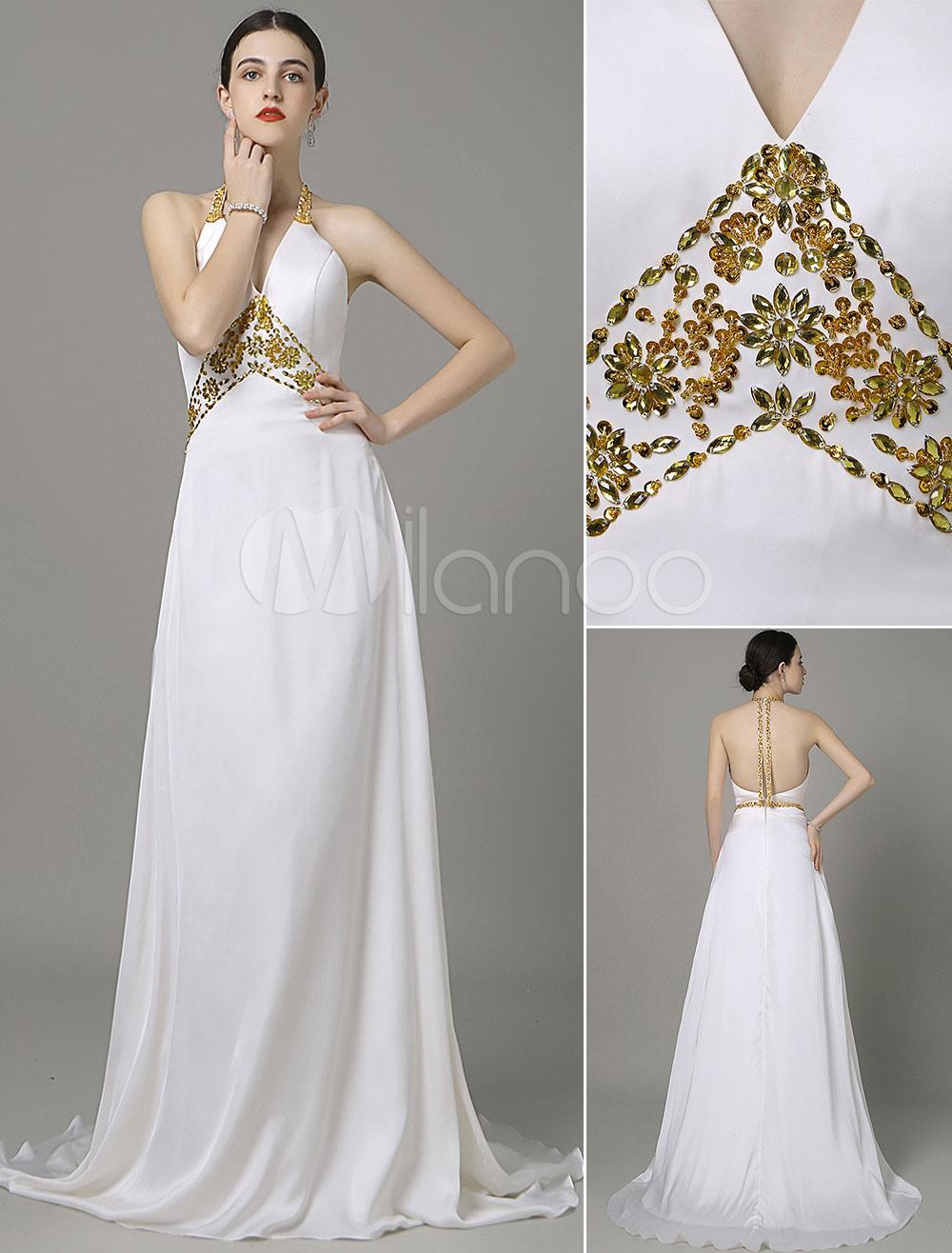 Beading evening dress ivory halter v neck court train for Cocktail dress for beach wedding
