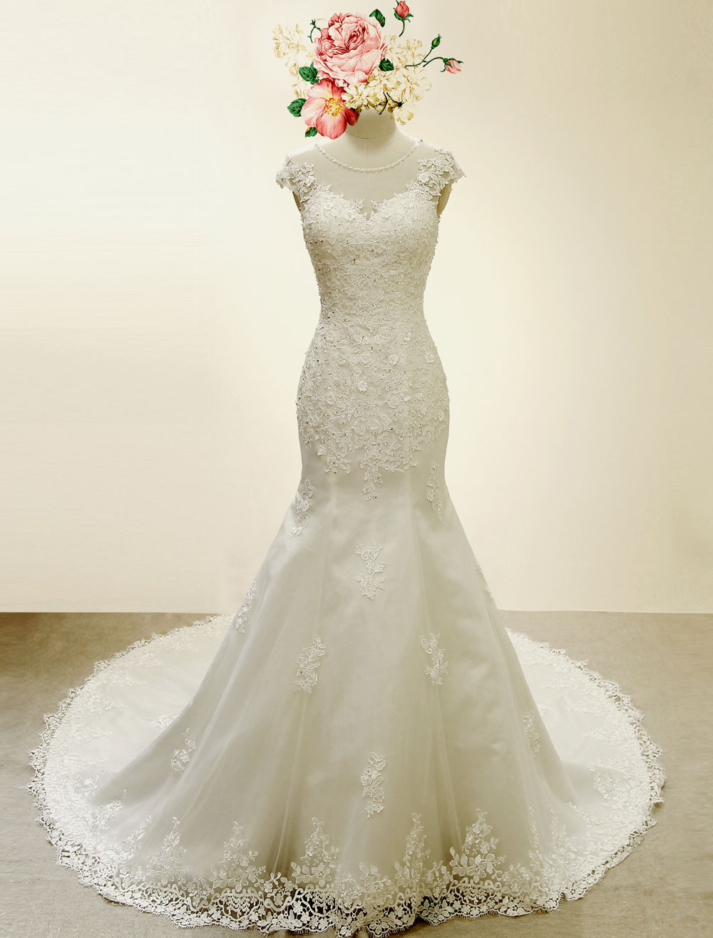 High qulity lace mermaid wedding dress illusion chaple for Ivory mermaid wedding dresses