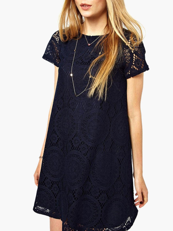 Short Sleeve Jacquard Lace Dress Cheap clothes, free shipping worldwide