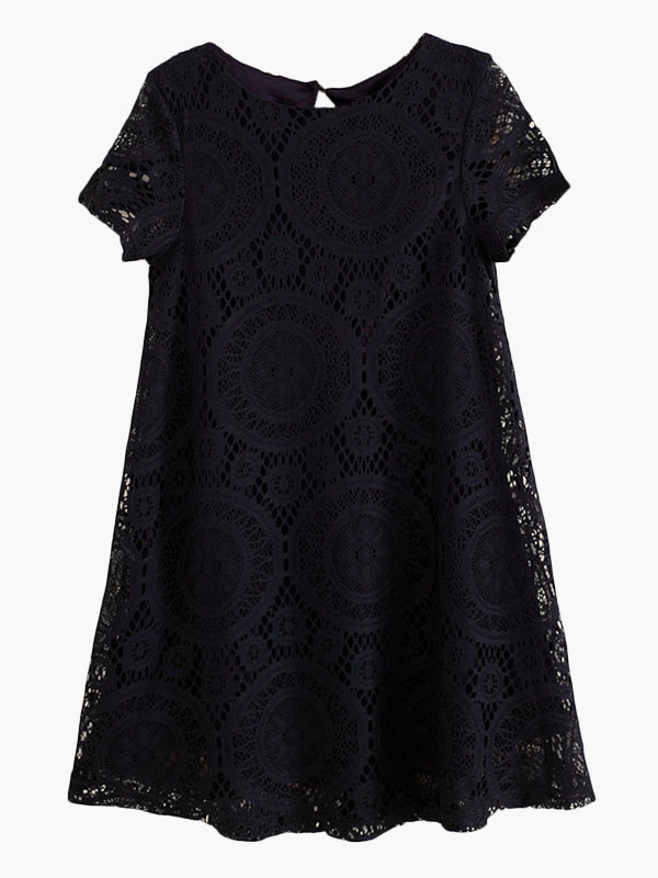 Milanoo / Short Sleeve Jacquard Lace Dress
