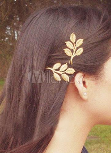 Boho Leaf Headband Metallic Gold Women Hair Accessory Cheap clothes, free shipping worldwide