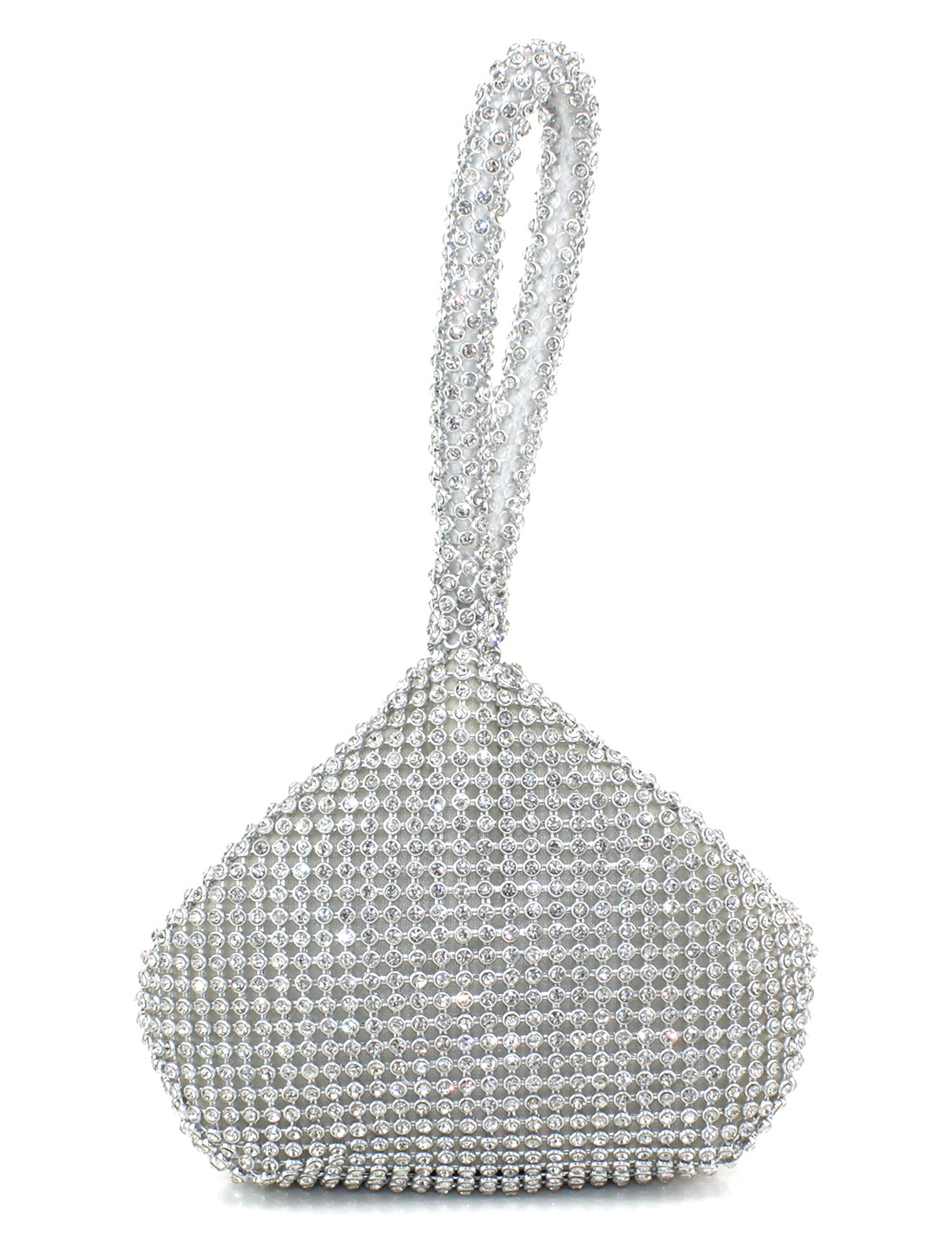 Silver Rhinestone Glitter Wedding Bridal Handbag