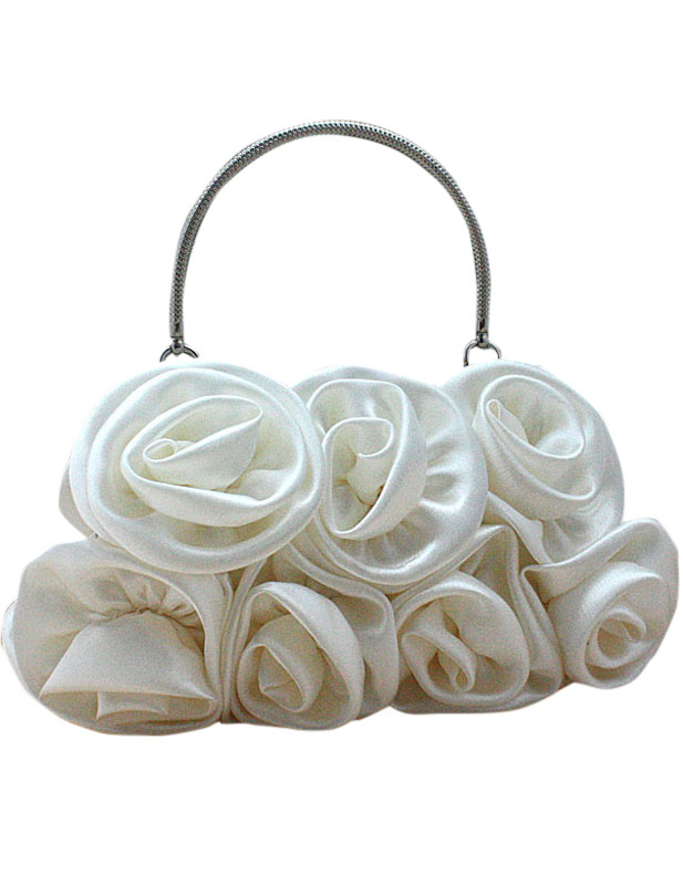 Sweet White Flower Satin Woman's Clutch Bag