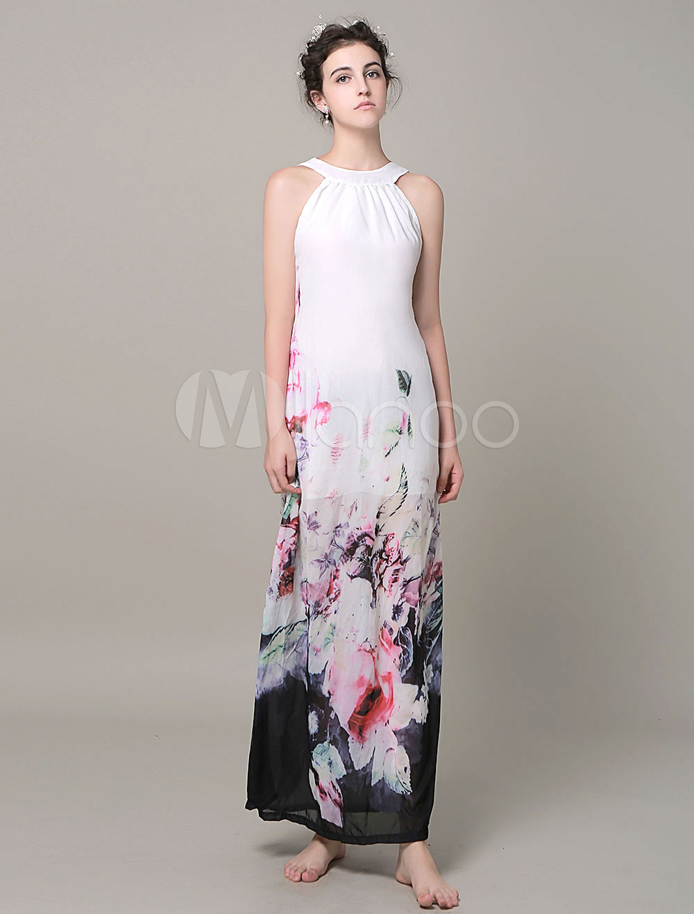 Chiffon Blooming Flowers Printed Maxi Dress
