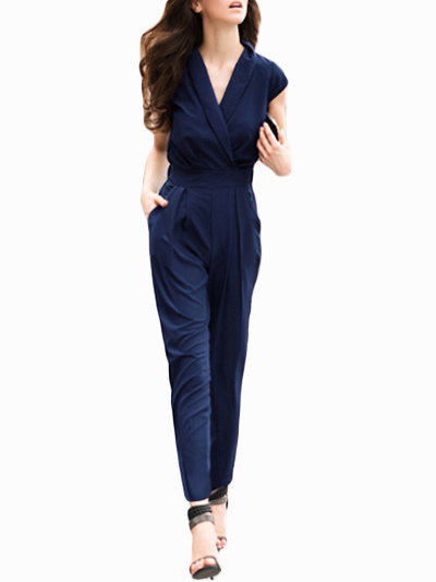 Sexy Navy Polyester Jumpsuit for Women