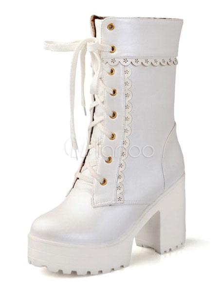 Turnschuhe für billige günstig kaufen Sortenstile von 2019 Matte Lolita Kurz Boots Chunky Platz Absatz-Plattform-schnüren in Weiße
