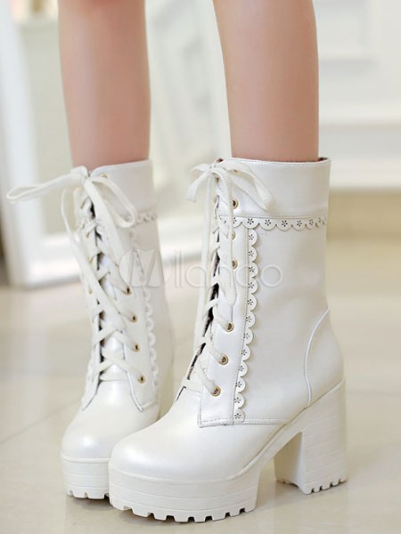 Matte White Lolita Short Boots Chunky Square Heels Platform Lace Up
