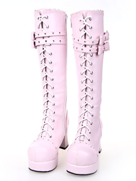 Buy Sweet Pink Lolita Boots Chunky Heels Platform Lace Up Bows for $106.99 in Milanoo store
