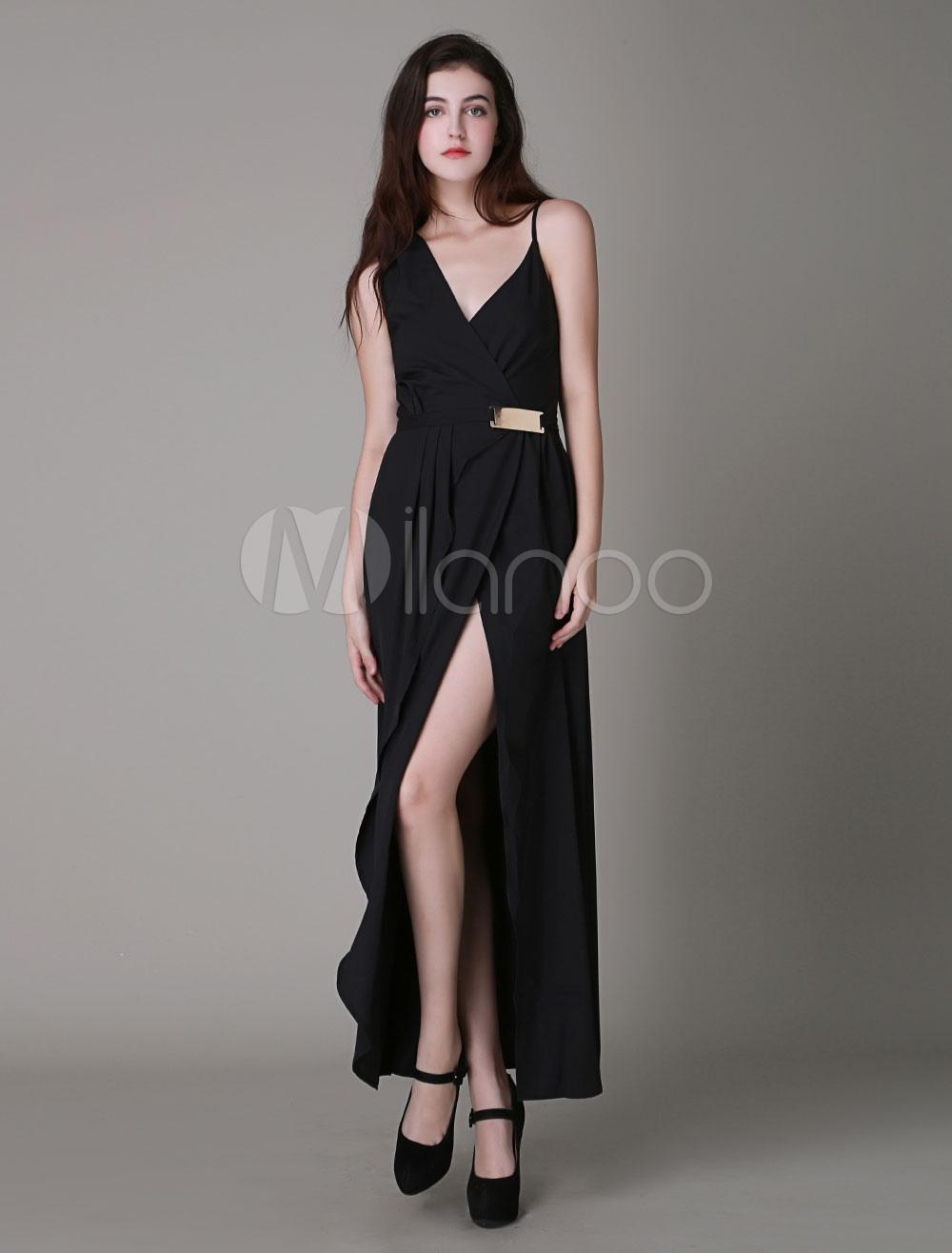 73a00e62ef623 Negro Vestido largo tirantes faja sin mangas - Milanoo.com